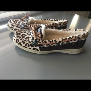 Sperry Top Sider Leopard Print Sheep fur lined